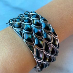 🛍 Holt Renfrew Cuff Bracelet, Pave Black Stones